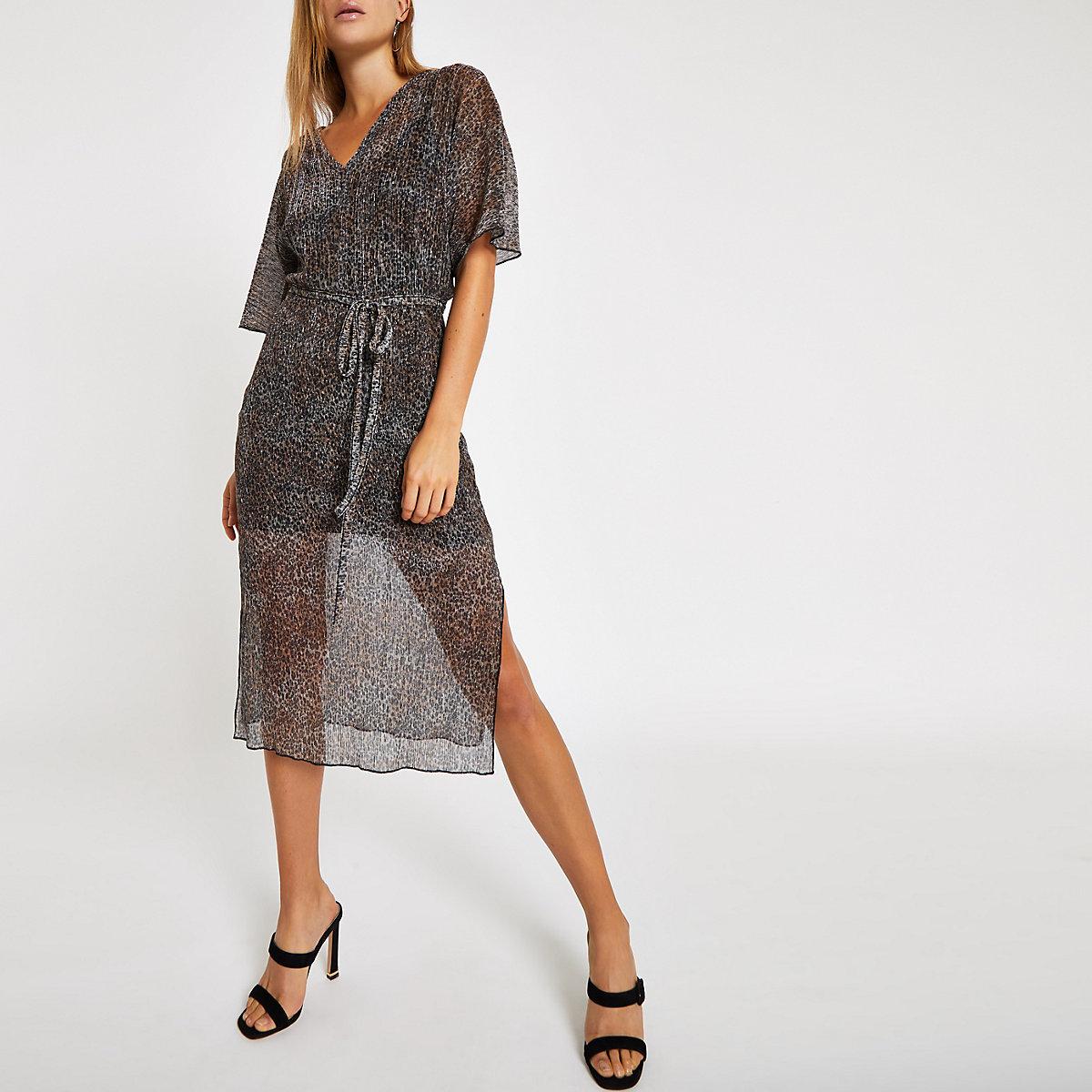 Black leopard print batwing sleeve midi dress