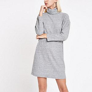 Grijze trui-jurk met col