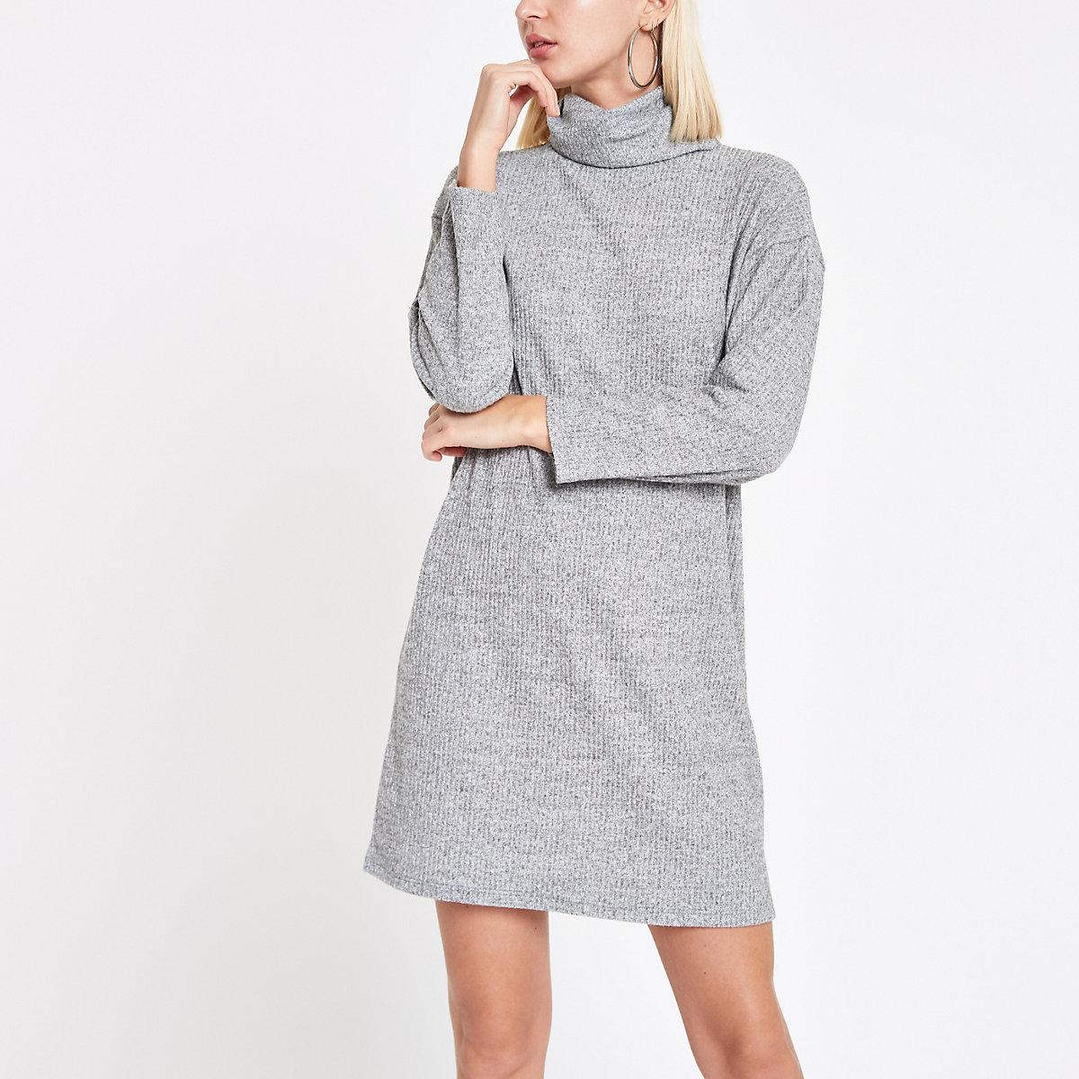 Grey roll neck jumper dress