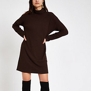 Burgundy brushed rib high neck sweater dress