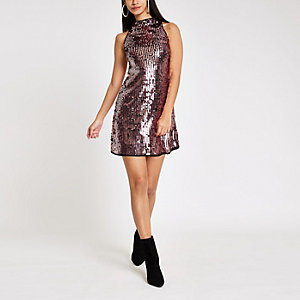 Pink sequin sleeveless swing dress