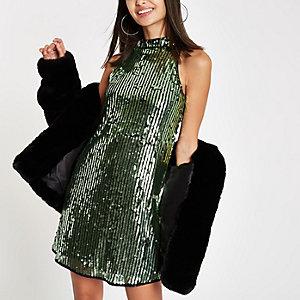 Grünes, paillettenverziertes Swing-Kleid