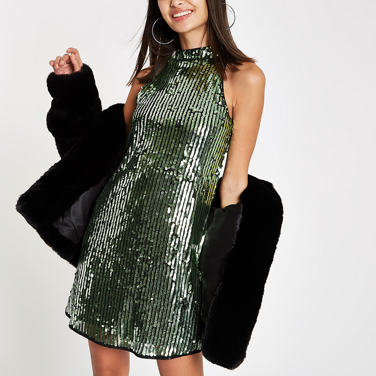 Green sequin sleeveless swing dress