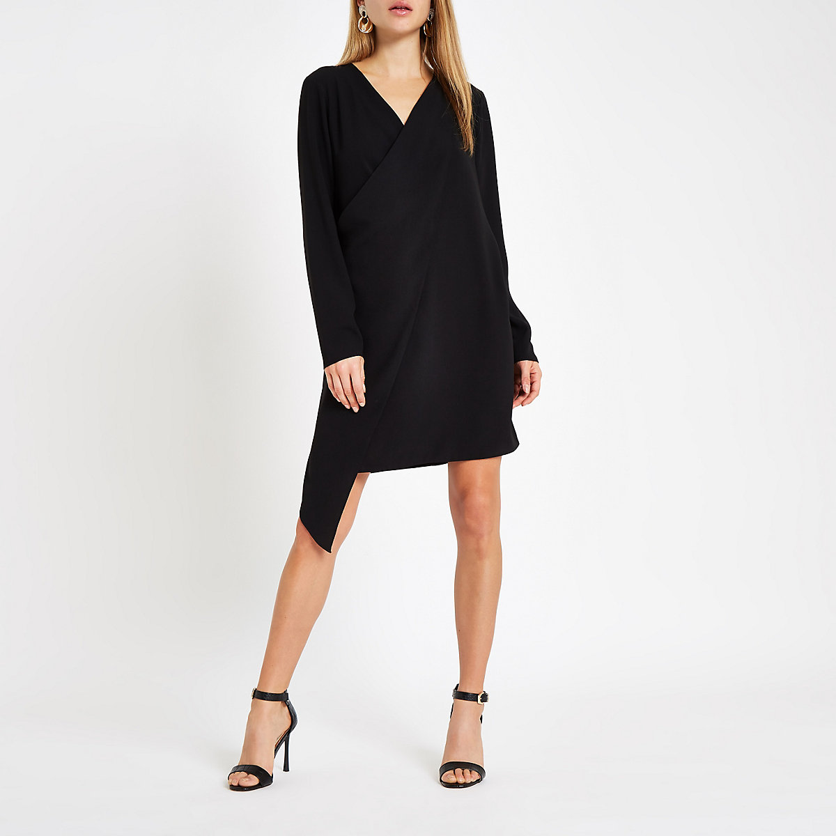 Black wrap front swing dress