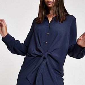 Robe chemise bleu marine nouée sur le devant