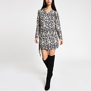 Black snake print drape front swing dress