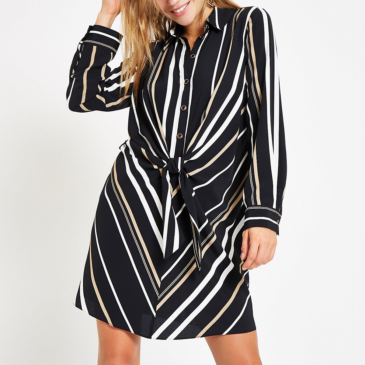 Black stripe tie front shirt dress