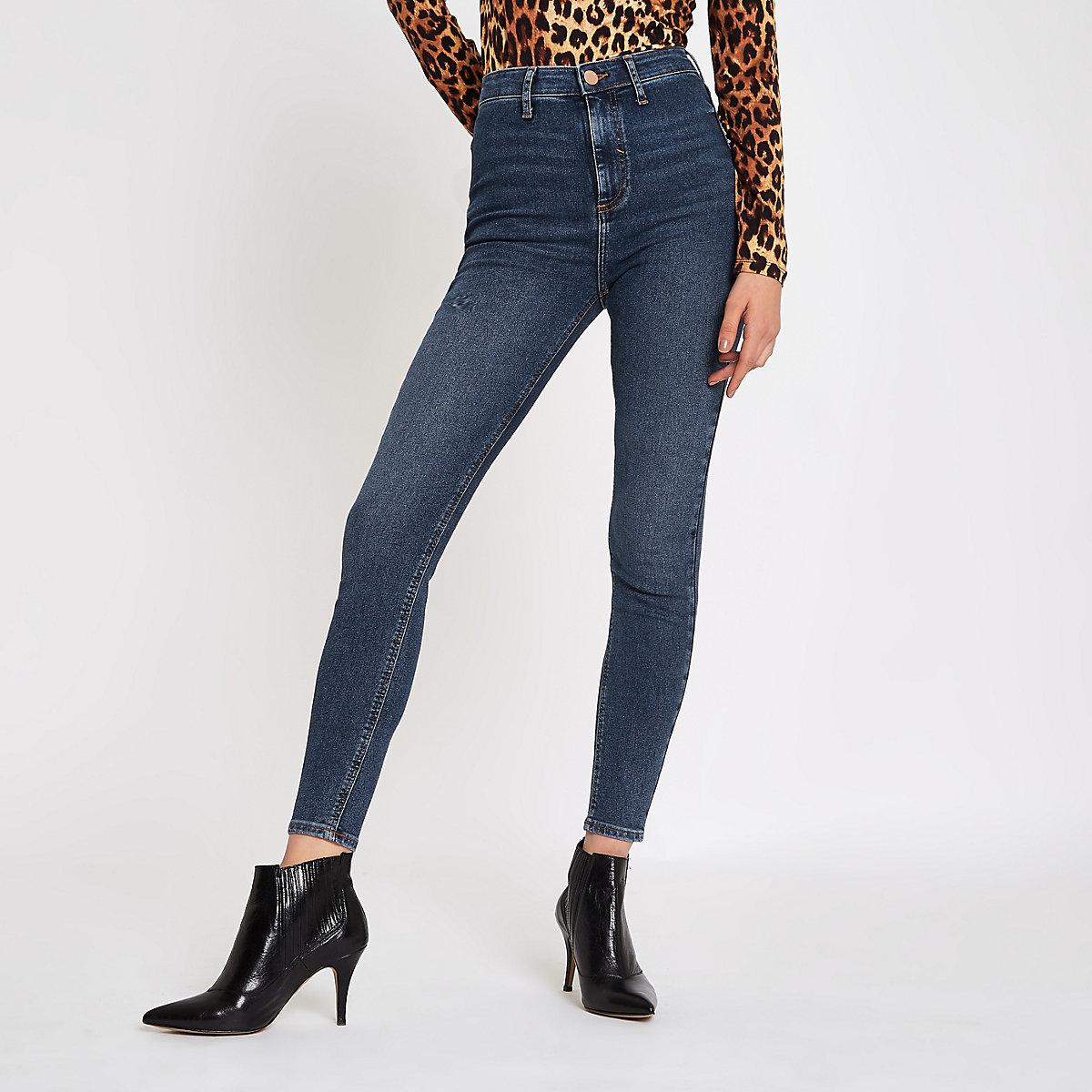 Mid blue Kaia high waisted skinny disco jeans