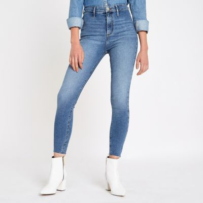Light Blue Kaia High Waisted Disco Jeans by River Island