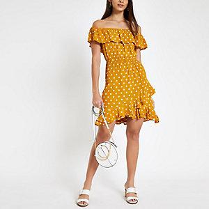 Yellow polka dot bardot frill hem dress
