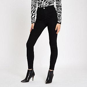 Kaia - Zwarte skinny discojeans met hoge taille
