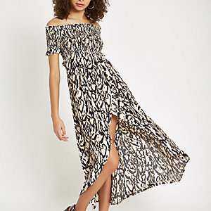 Black print bardot shirred maxi dress