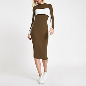 Green color block bodycon midi dress