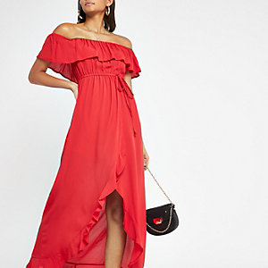 Rode bardotmaxi-jurk