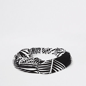 Black palm print twist headband