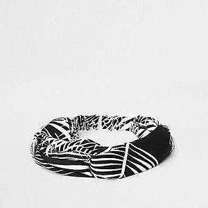 Zwarte gedraaide hoofdband met palmboomprint