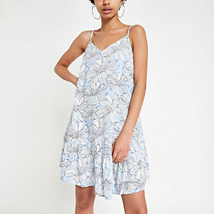 Blue floral slip dress