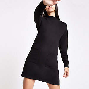 Black patch pocket sweater dress