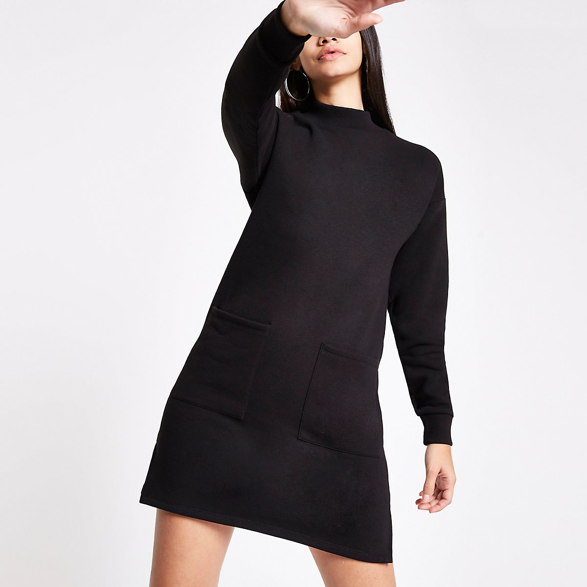 Black patch pocket sweater dress