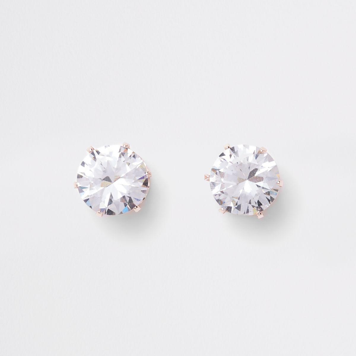 Rose gold tone crown stud earrings