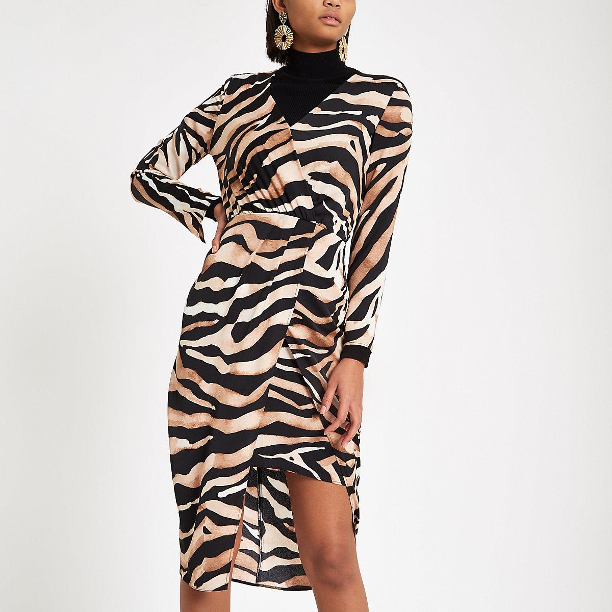 Brown tiger print wrap midi dress