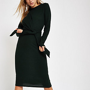 Khaki knot front ribbed bodycon midi dress
