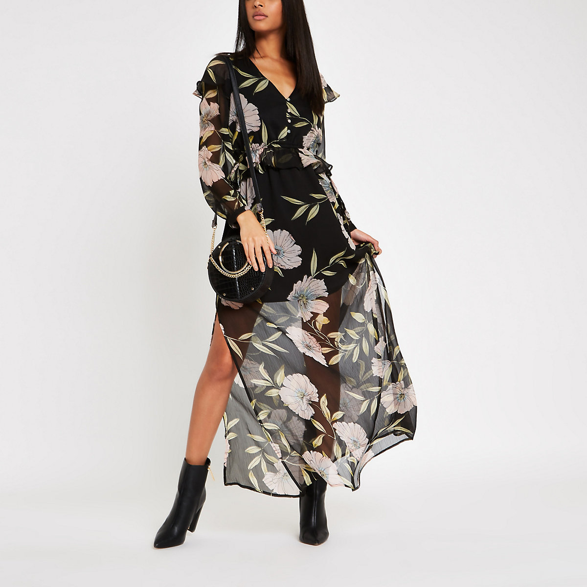Black floral frill maxi dress