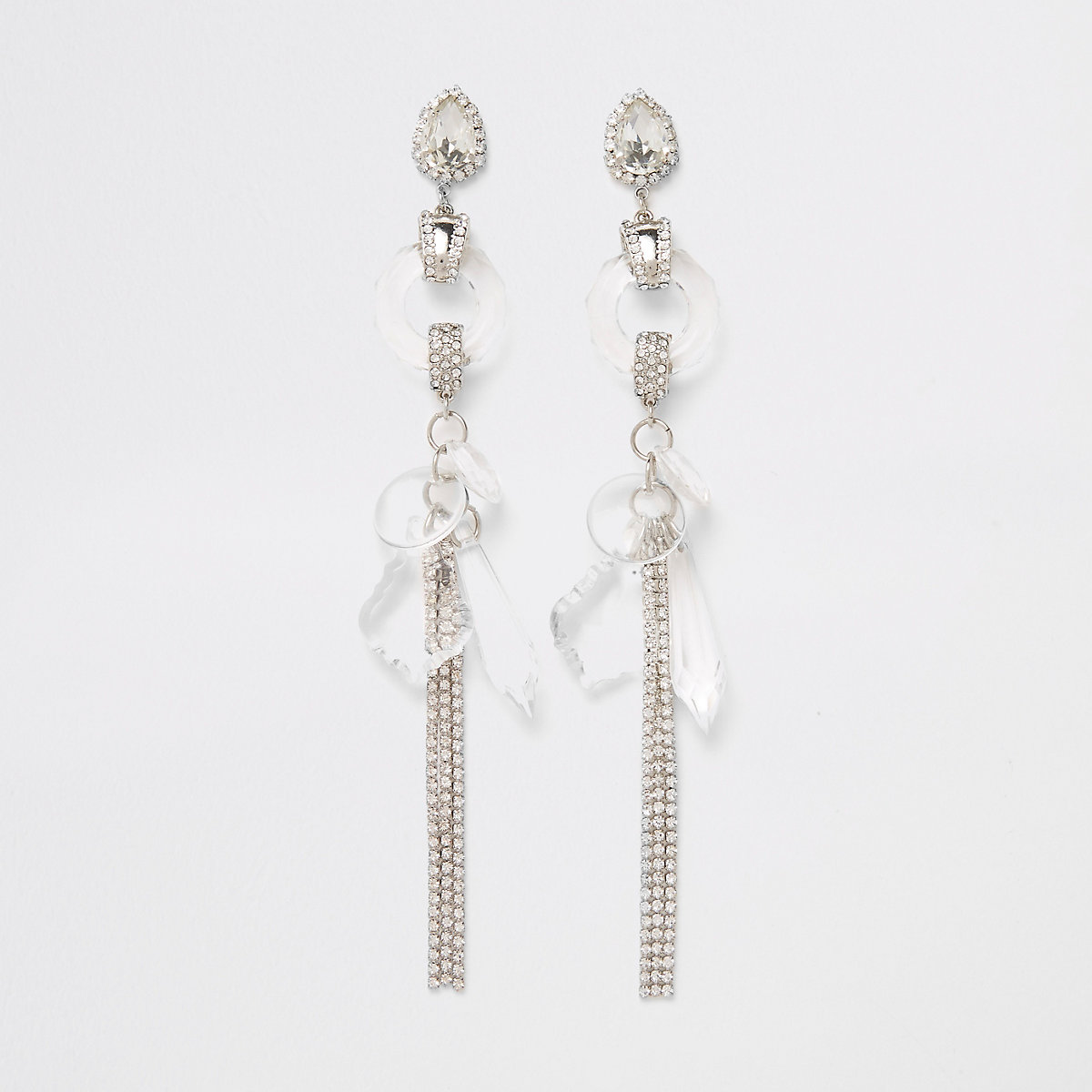 Silver tone rhinestone and jewel drop earrings