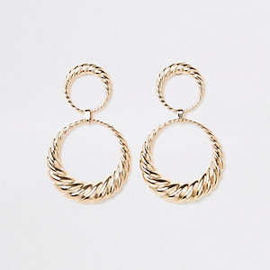 Gold tone double hoop twist drop earrings