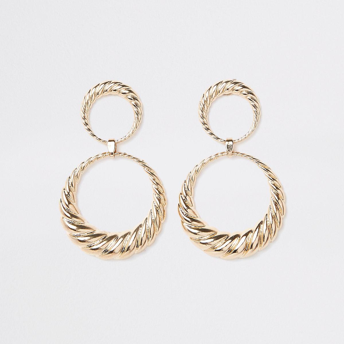 Gold tone double hoop twist drop earrings