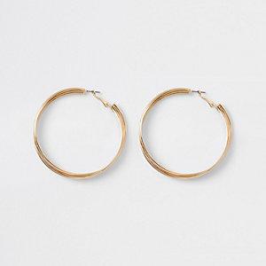 Gold tone layered twist hoop earrings