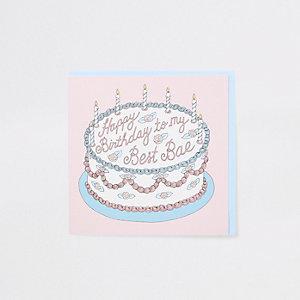 Central 23 pink 'best bae' birthday card