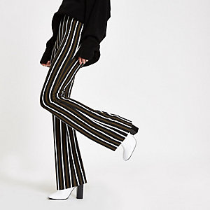 Khaki stripe ribbed flared leg trousers