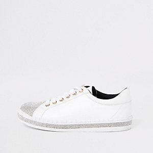 White rhinestone embellished lace-up plimsolls