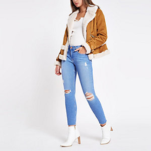 Bright blue Amelie ripped skinny jeans