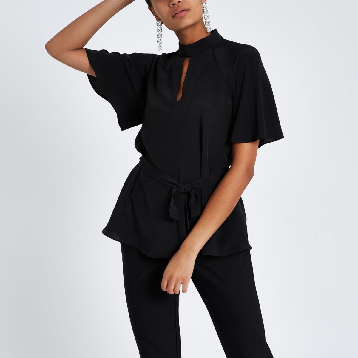 Black short sleeve tie front blouse