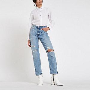 Chemise en popeline blanche à boutons et strass