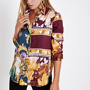 Purple mixed print contrast long sleeve shirt