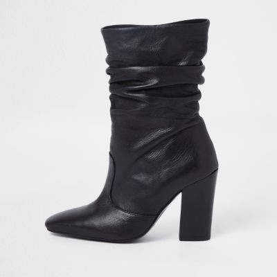 Black Leather Slouch Boots by River Island