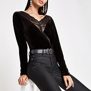 Black lace trim velvet bodysuit