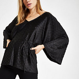 Black plisse tie waist kimono sleeve top