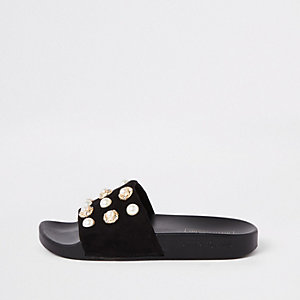 Black pearl embellished sliders