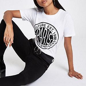 Petite white 'Couture Paris' T-shirt