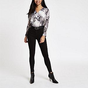 Petite grey snake print long sleeve bodysuit