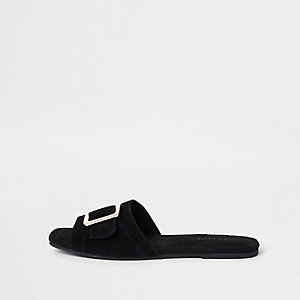 Black suede buckle mules