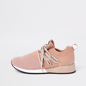 Light pink lace-up runner sneakers