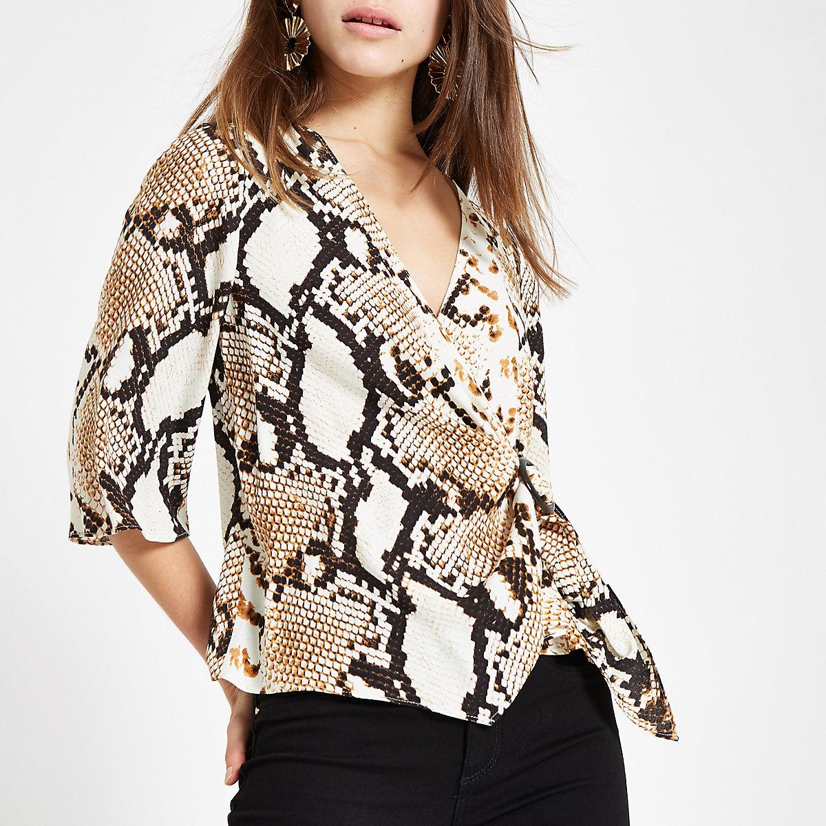 Petite beige snake print wrap buckle blouse