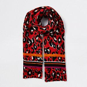 Écharpe imprimé léopard rouge
