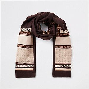 Brown RI print blanket scarf