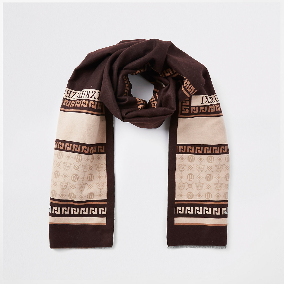 Brown RI print blanket scarf